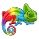 Chameleon Cartoon Rainbow Character - GraphicRiver Item for Sale