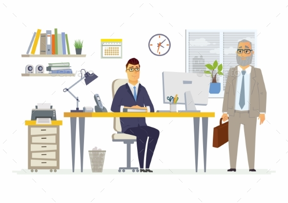 Office Scene - Modern Vector Cartoon Business - Concepts Business