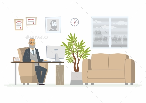 GraphicRiver Office Head Modern Vector Cartoon Business 20460251