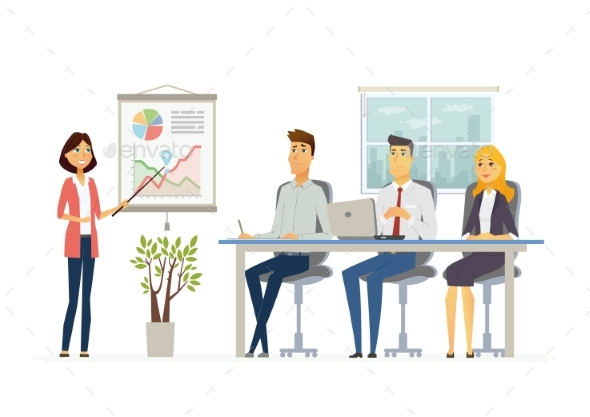 Business Meeting - Modern Vector Cartoon - Concepts Business