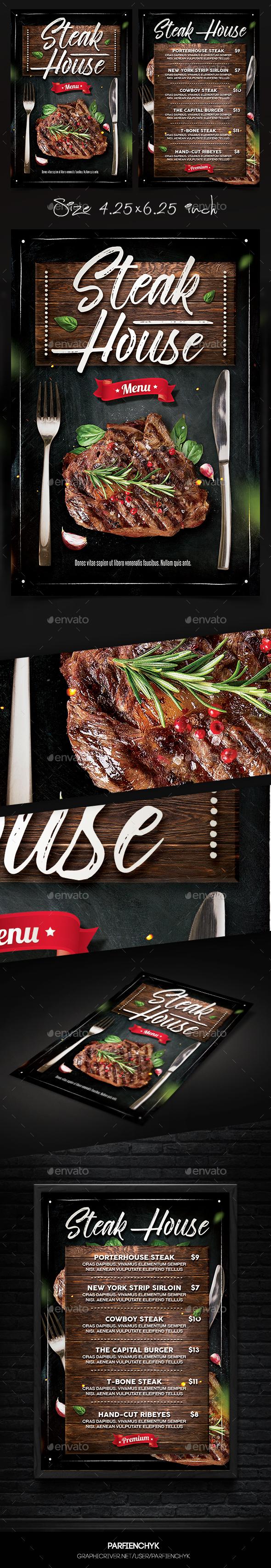 Steak Menu Flyer - Restaurant Flyers
