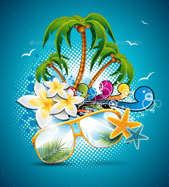 GraphicRiver Summer Holiday Flyer Design with Palm Trees 20460341