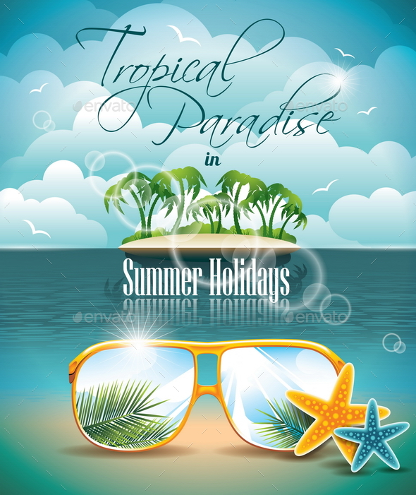 Summer Holiday Flyer Design with Palm Trees - Travel Conceptual