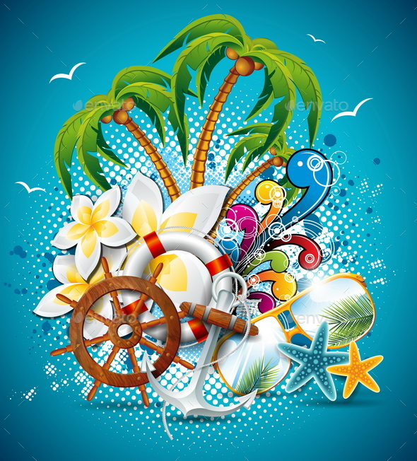 GraphicRiver Summer Holiday Flyer Design with Palm Trees 20460374