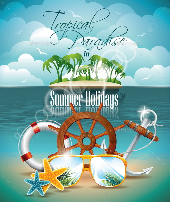 GraphicRiver Summer Holiday Flyer Design with Palm Trees 20460407