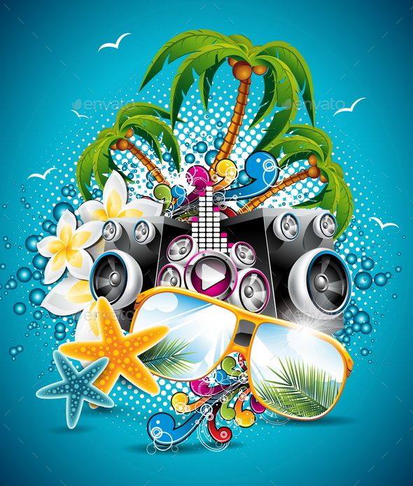 GraphicRiver Summer Beach Party Flyer Design with Speakers 20460440