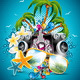Summer Beach Party Flyer Design with Speakers. - GraphicRiver Item for Sale