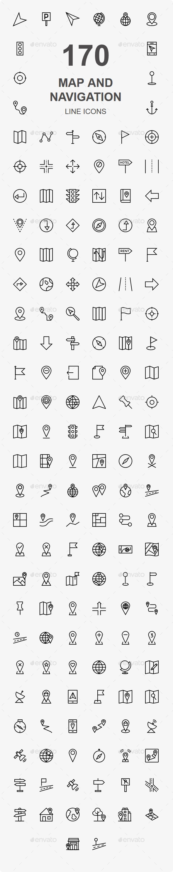 150+ Map and Navigation line icons - Web Icons