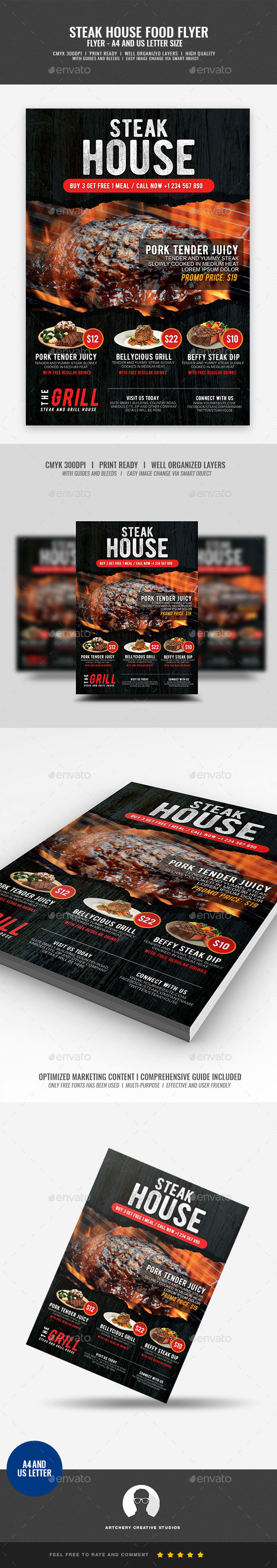 Grill Steak Flyer - Restaurant Flyers