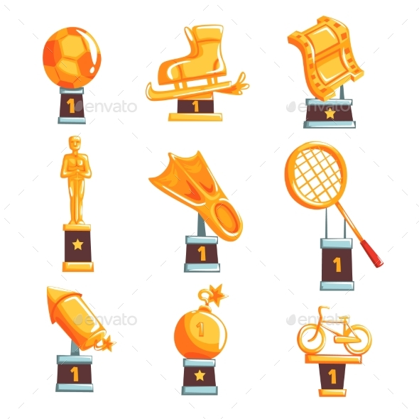 GraphicRiver Cartoon Golden Trophy Cups Awards 20460555