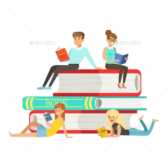 GraphicRiver Micro Young Women and Men Sitting on a Pile 20460589