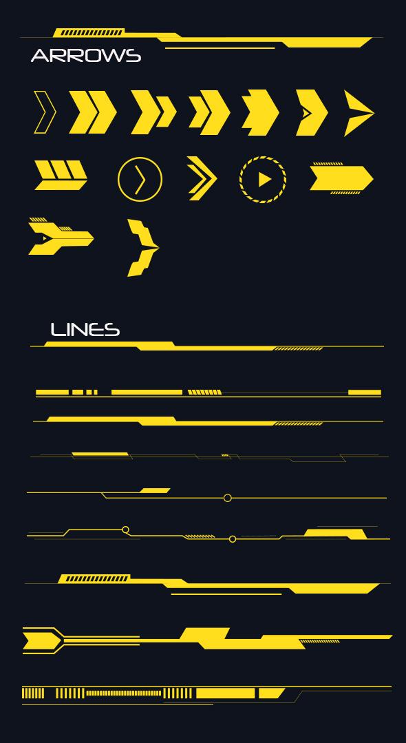 Hi-tech Lines and Arrows Set - Shapes Photoshop