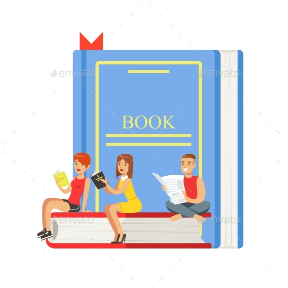 GraphicRiver Micro Young Women and Man Sitting on a Giant Book 20460608