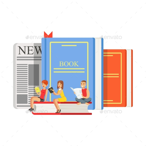 GraphicRiver Micro Young Women and Man Sitting on a Giant Books 20460616