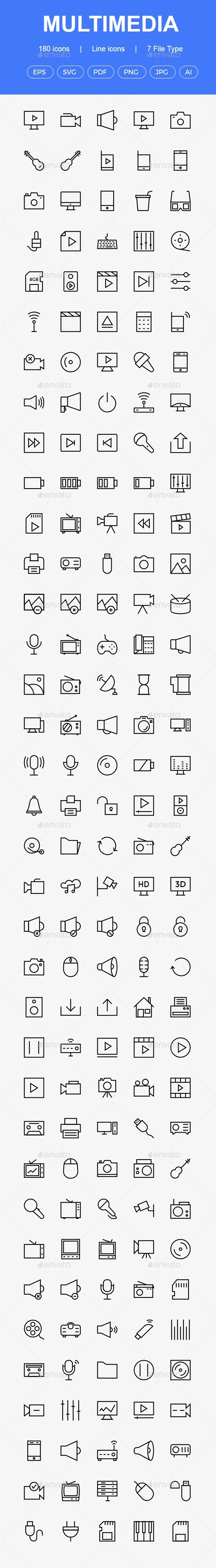 GraphicRiver 150& Multimedia line icons 20460686
