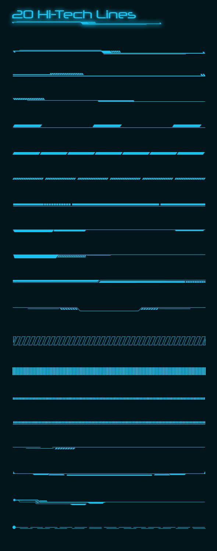 GraphicRiver 20 Hi-tech Lines Custom Shapes 20460772