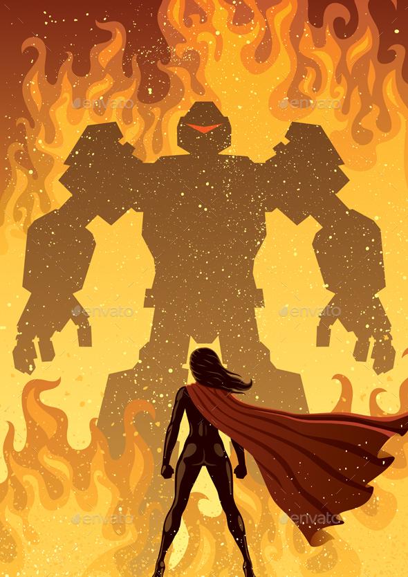 Super Heroine Versus Robot - Characters Vectors