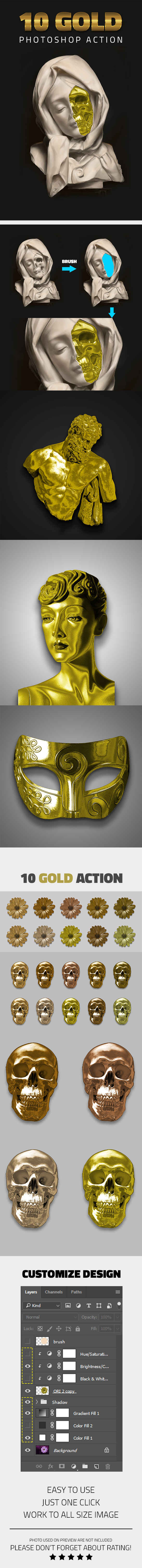 GraphicRiver 10 Gold Effect Photoshop Action 20460997