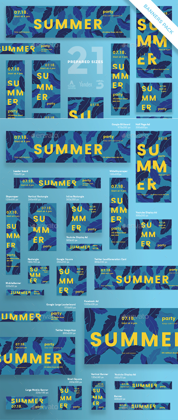 Summer Leaves Banner Pack - Banners & Ads Web Elements