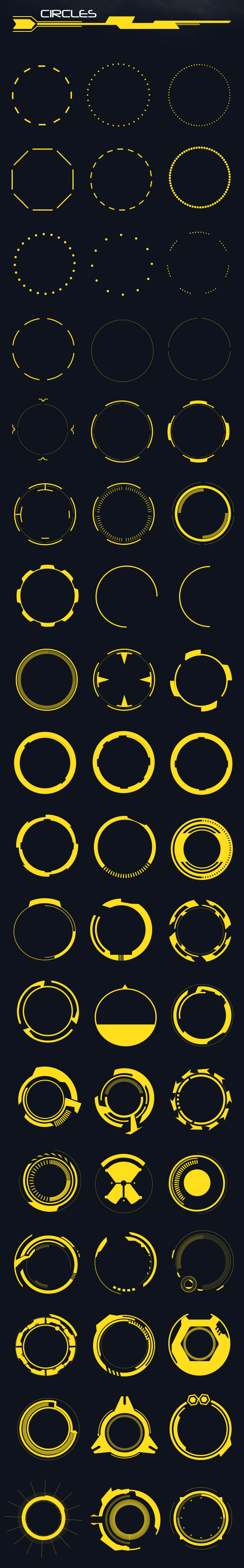 60 Hi-Tech Circles (Custom Shapes)