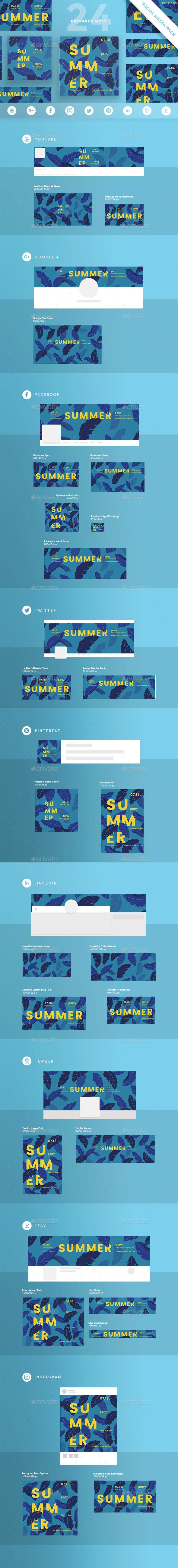 Summer Leaves Social Media Pack - Miscellaneous Social Media