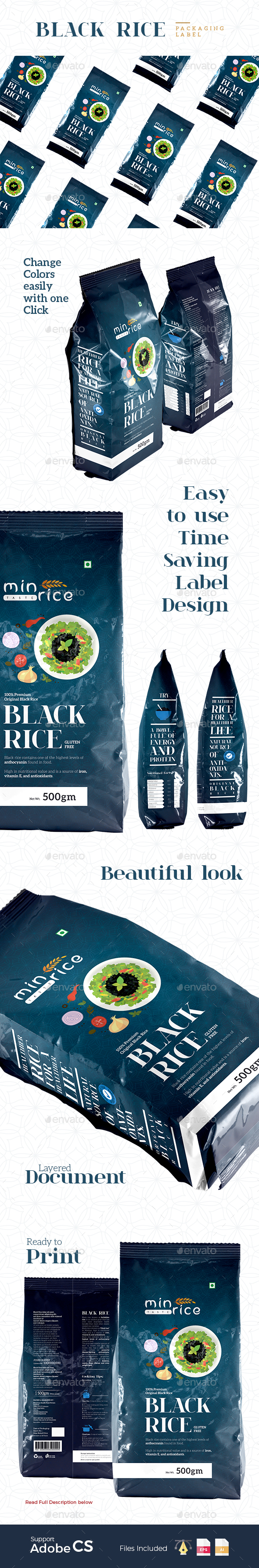 Premium Black Rice Packaging - Packaging Print Templates