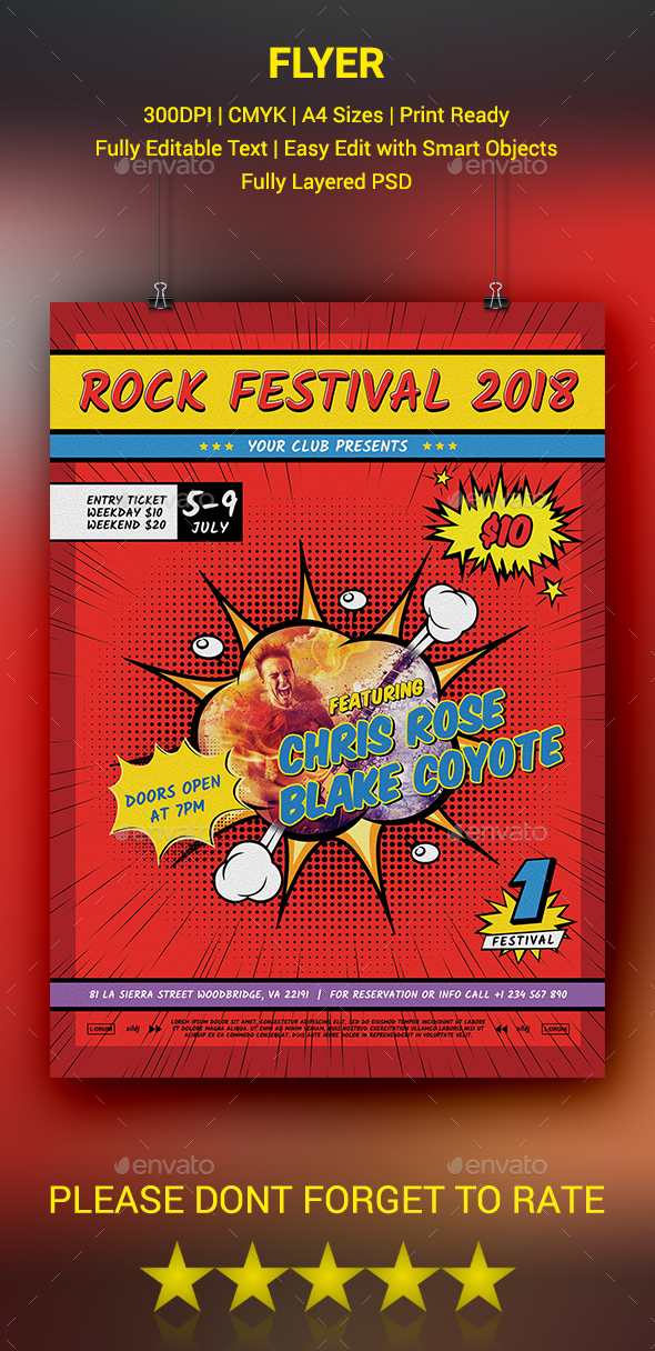 GraphicRiver Comic Style Music Festival Flyer 20461182