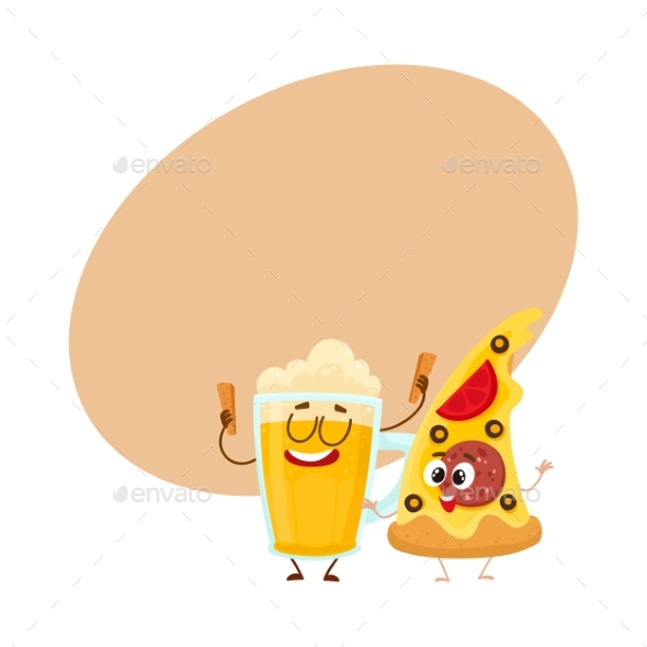 Funny Beer Mug and Yummy Pizza Slice Characters - Food Objects