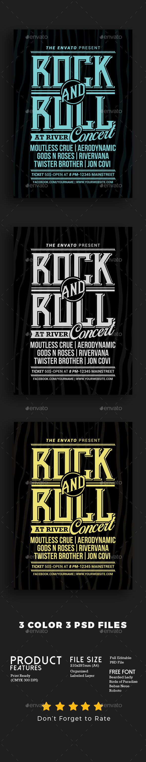 Rock and Roll Music Concert - Events Flyers