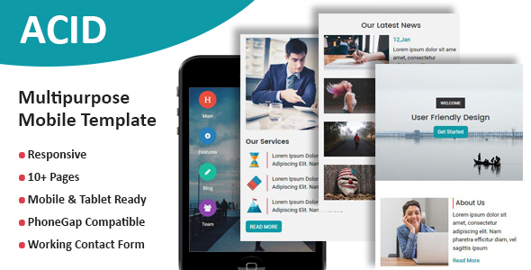 ACID - Multipurpose Responsive Mobile Template - Mobile Site Templates