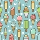 Vector Cute Colorful Ice Cream Seamless Pattern