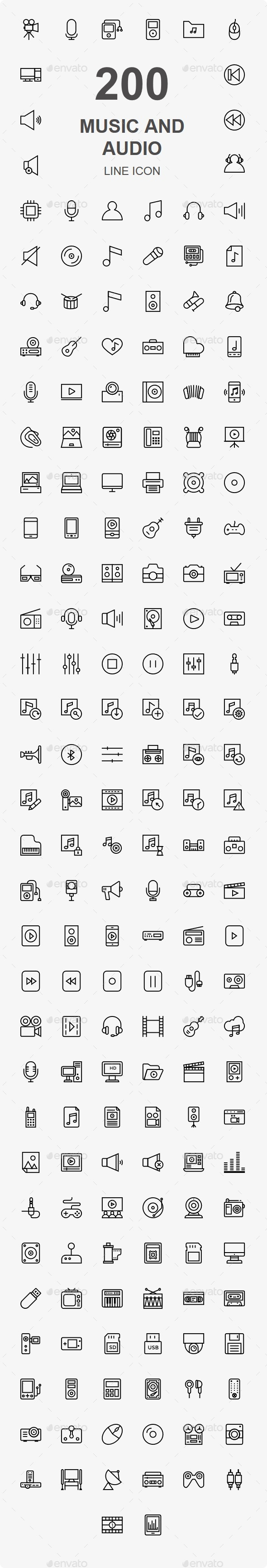 GraphicRiver 200 Music Audio Video line icons 20461372