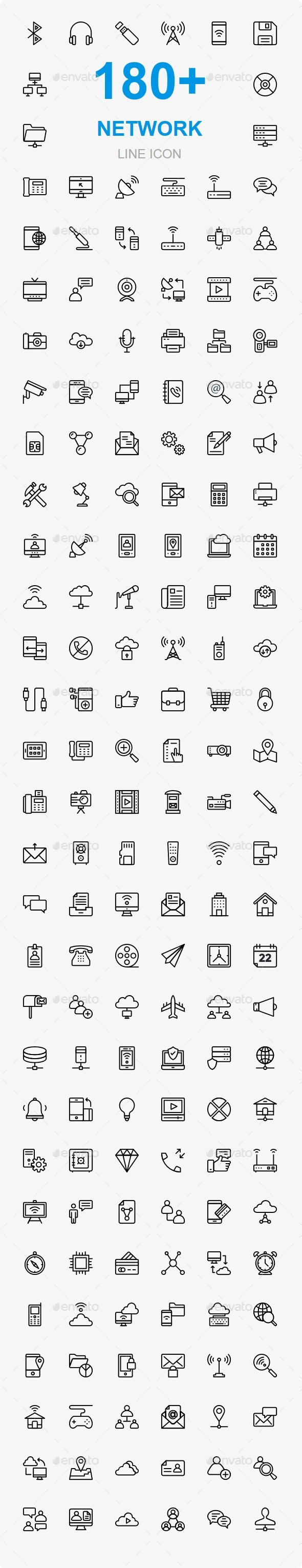 GraphicRiver 180 Network & Communication line icons 20461409