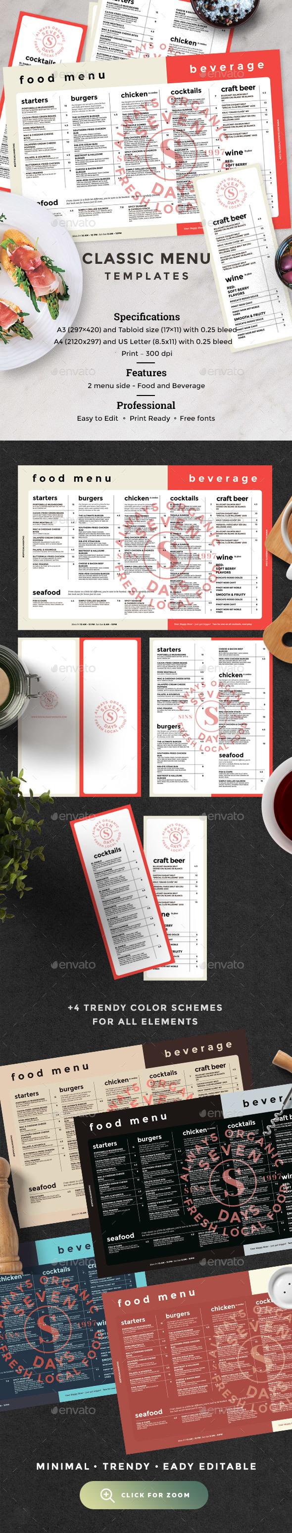 Classic Menu - Food Menus Print Templates