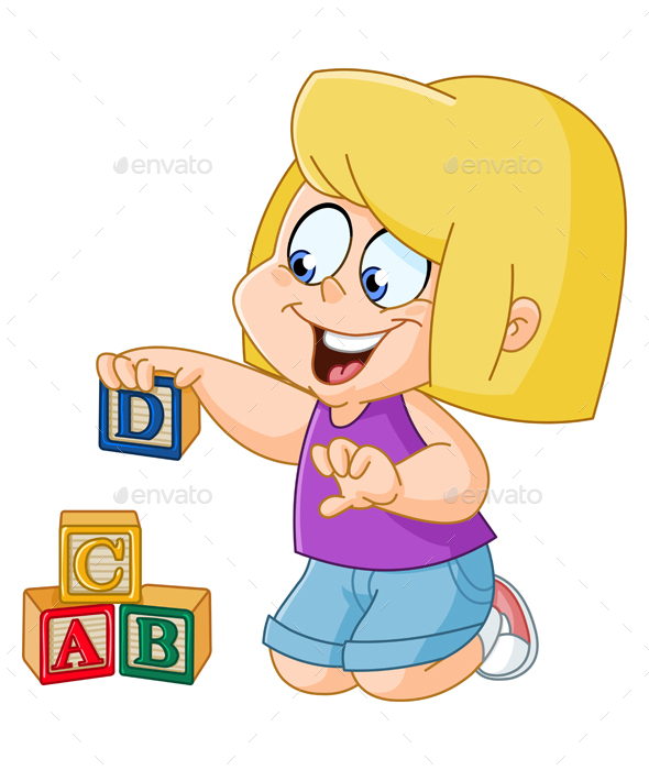 Girl with Alphabet Blocks - People Characters