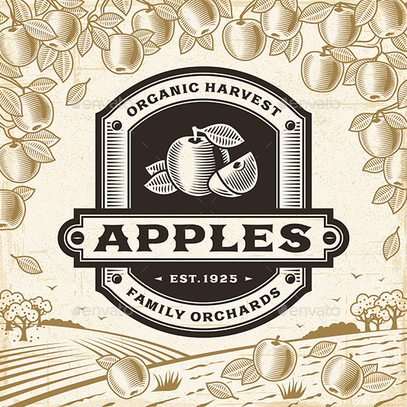Retro Apples Label On Harvest Landscape - Decorative Symbols Decorative
