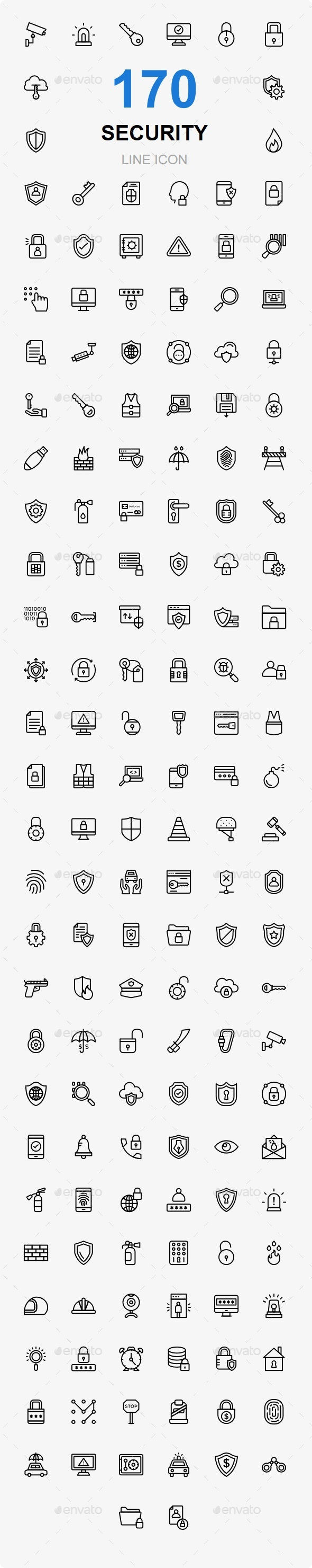 170 Security line icons - Web Icons