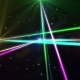Laser Show From Multi-colored Rays of Light in Dark in Disco