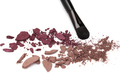 Eyeshadow burgundy color palette with makeup brush
