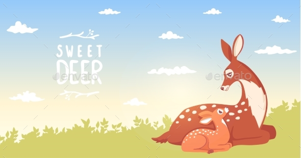 Deer with Fawn - Animals Characters