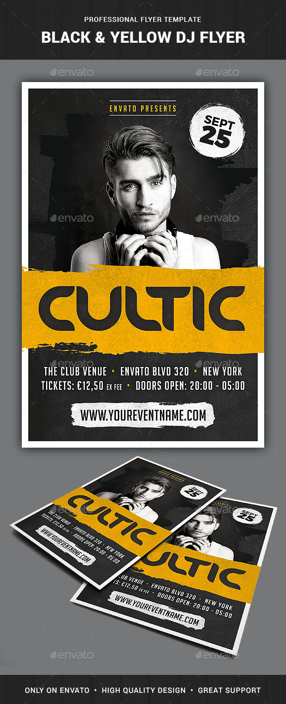 Black & Yellow DJ Flyer Template - Clubs & Parties Events
