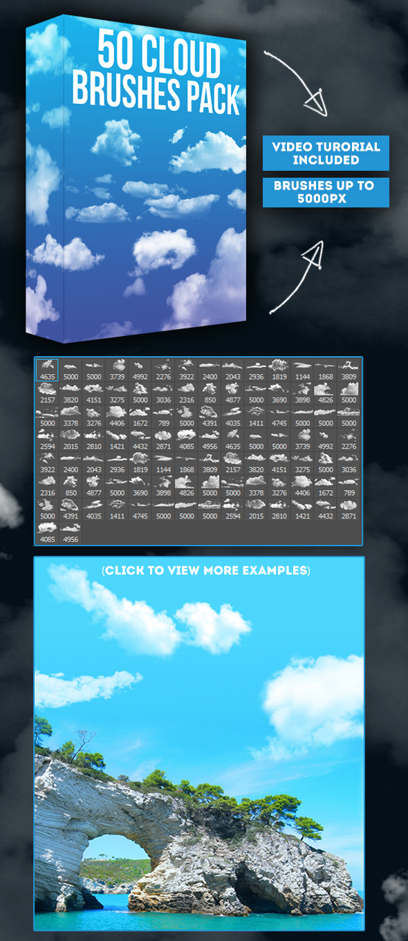GraphicRiver 50 Cloud Brushes Pack 20461943