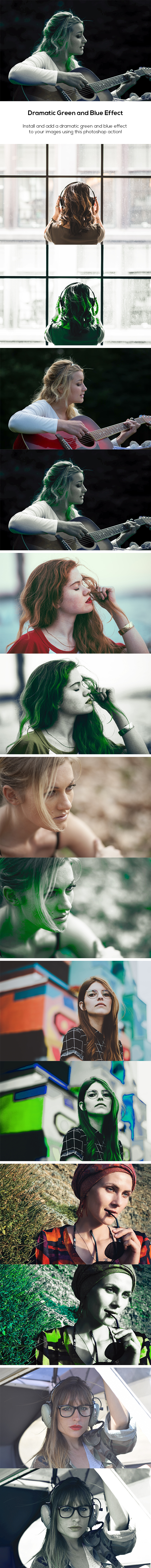 Dramatic Green and Blue Effect - Photo Effects Actions
