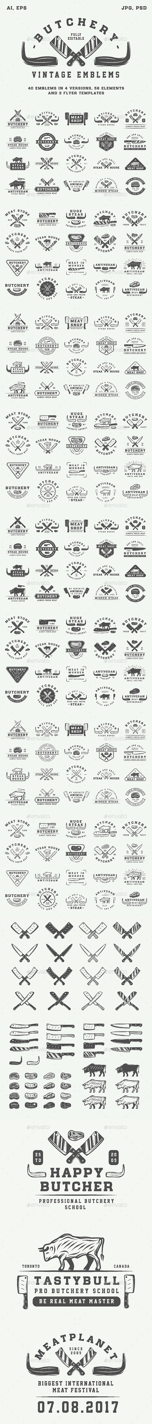 Vintage Butchery Emblems - Badges & Stickers Web Elements
