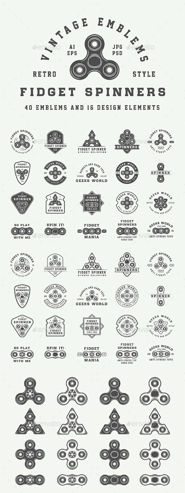 GraphicRiver Fidget Spinners Emblems 20462153
