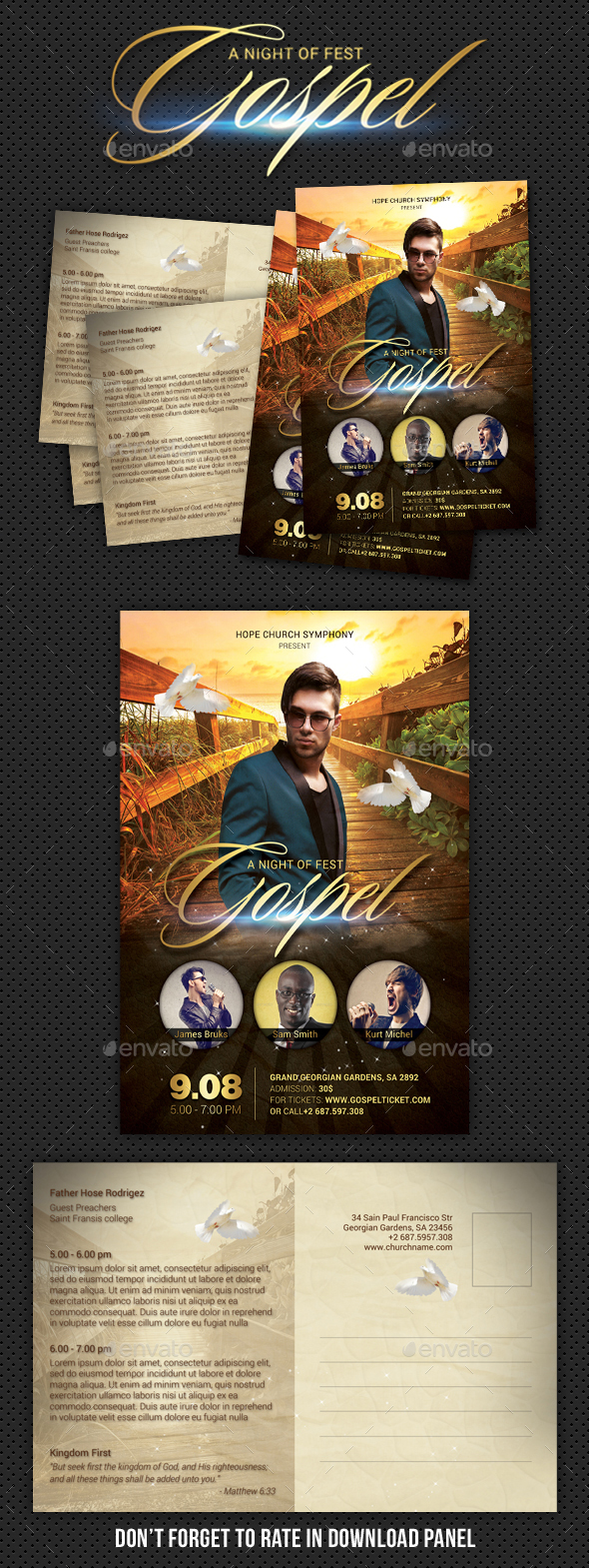 GraphicRiver Gospel Fest Postcard 20462162