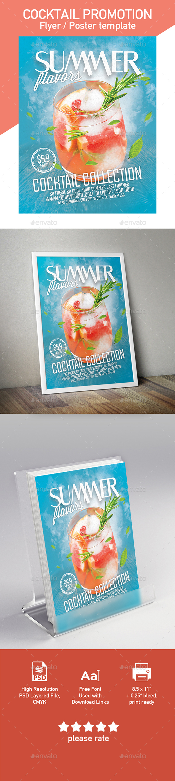 Summer Cocktail Flyer / Poster Template - Flyers Print Templates