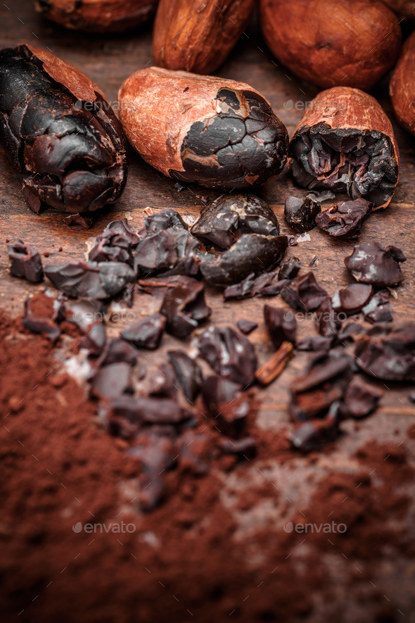 Cacao nibs with cacao beans - Stock Photo - Images