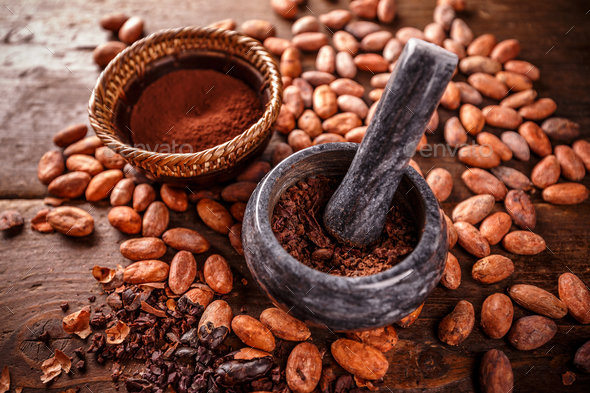 Crushed cacao beans - Stock Photo - Images