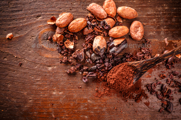 Composition of cacao nibs - Stock Photo - Images